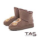 TAS 立體泰迪小熊前高後低絨布雪靴-溫暖咖