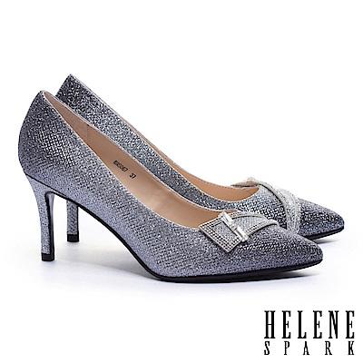 高跟鞋 HELENE SPARK 迷人璀璨鑽飾釦漸層金蔥尖頭高跟鞋-黑