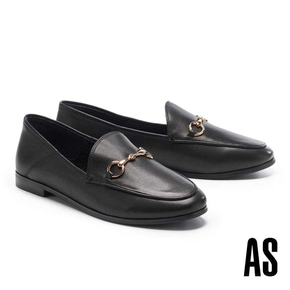低跟鞋 AS 復刻經典時尚馬銜釦羊皮樂福低跟鞋-黑