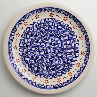 【波蘭陶 Zaklady】 紅點藍花系列 圓形餐盤 27cm 波蘭手工製
