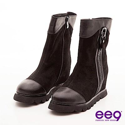 ee9 俏皮甜心 巨無霸拉鍊裝飾包頭寬口中筒靴 黑色