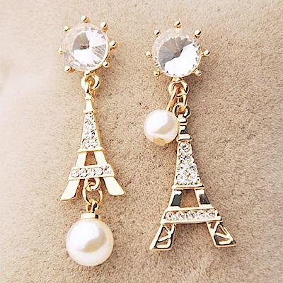 iSFairytale伊飾童話 巴黎風情 鐵塔水鑽珍珠垂墜耳環 金