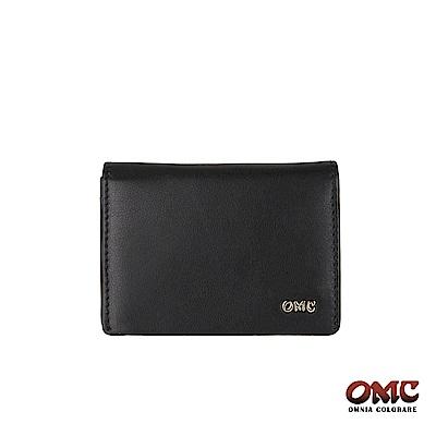 OMC 進口小牛皮翻蓋3卡透明窗名片夾-黑色