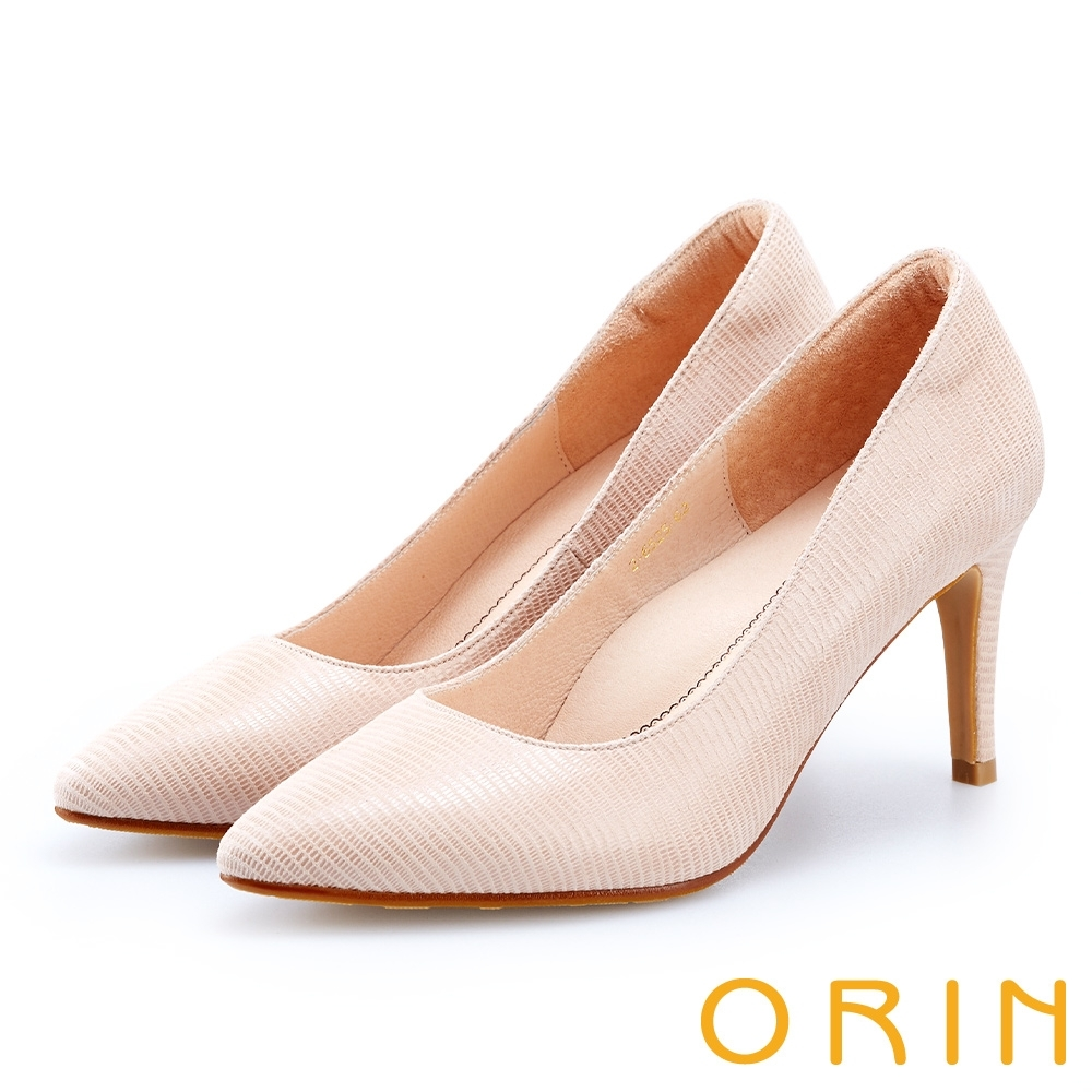 ORIN 時尚名媛 壓紋皮面尖頭高跟鞋-米色