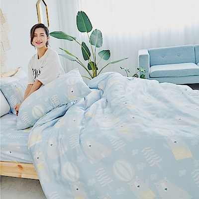 BUHO 100%TENCEL天絲床包枕套組-雙人加大(嘻遊萌寶)