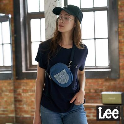 Lee 牛仔小型橢圓 斜背包 中藍色