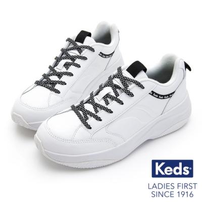 Keds K-89 復古曲線厚底老爹鞋-白黑