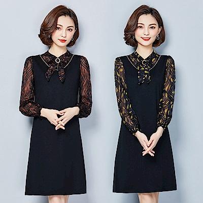 氣質蝴蝶領結拼接透視印花中長連身裙XL-5XL(共二色)-REKO