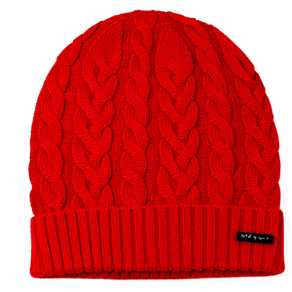 agnes b.時尚麻花編織 針織毛帽(紅色)