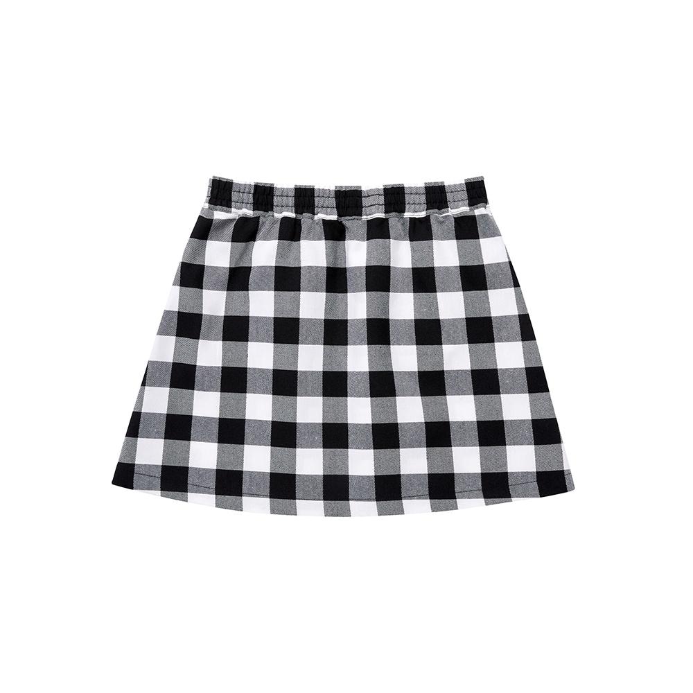 FILA KIDS WONNIE FRIENDS 女童平織短裙-黑 5SKU-4514-BK