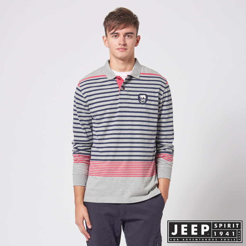 JEEP 經典條紋長袖POLO衫 -灰色