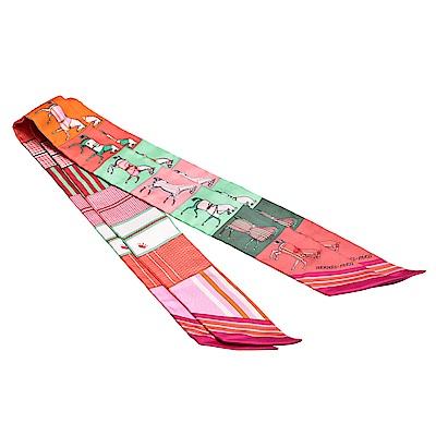 HERMES 愛馬仕馬匹圖案Twilly絲巾領結(紫紅-一組兩條)