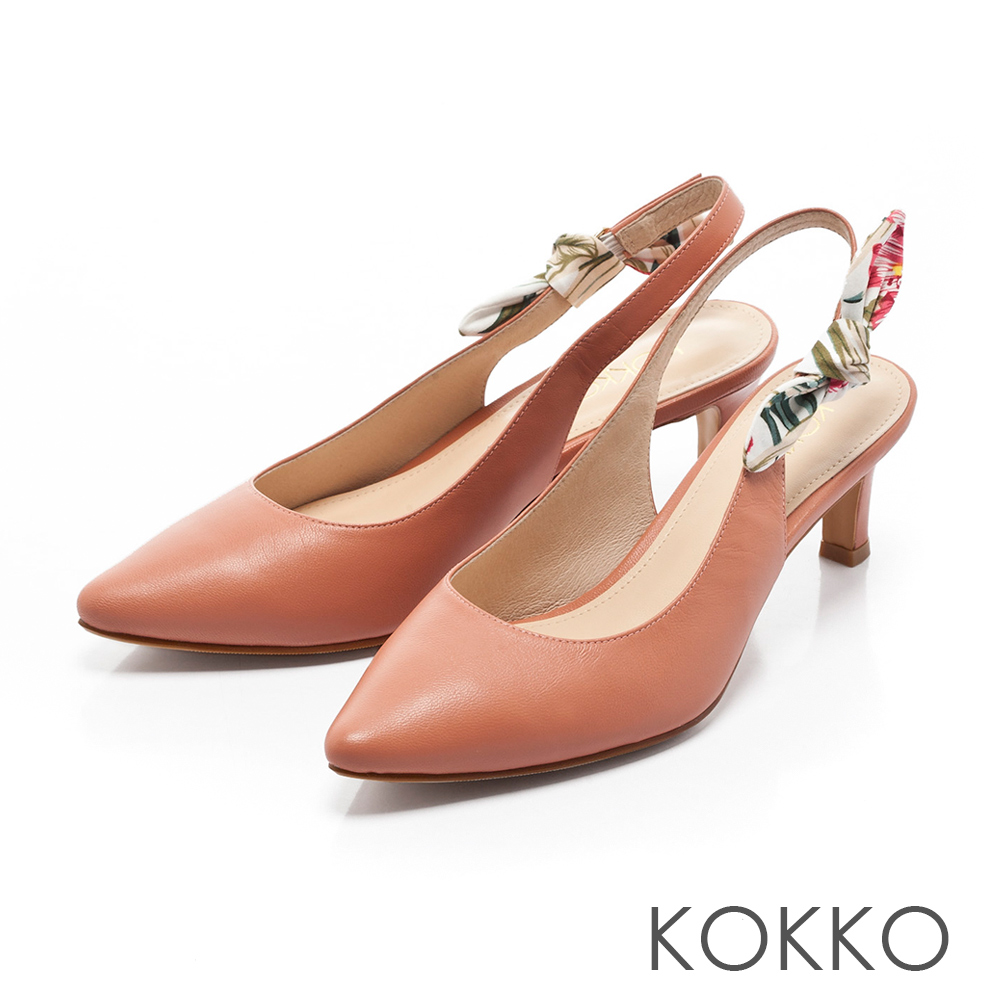 KOKKO -午後時光後拉帶兩穿蝴蝶結高跟鞋-繡球橘