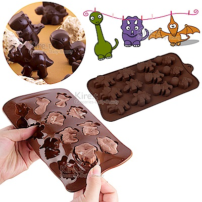 kiret 矽膠 巧克力模具-療癒恐龍 4花型15連-果凍/冰塊模具/盒