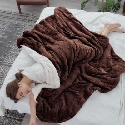 BUHO 文青感質純色法蘭絨/羊羔絨雙層暖絨毯(150x200cm)-書香咖