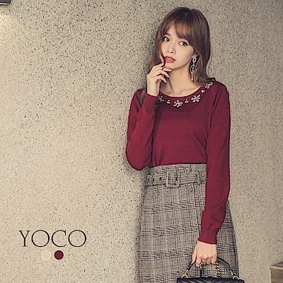 東京著衣-yoco 氣質優雅領綴花朵亮片針織上衣-S.M.L.XL(共二色)