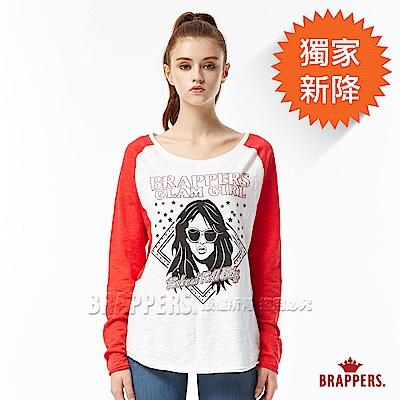 BRAPPERS 女款 燙鑽GIRL印圖配色長版長袖上衣-紅