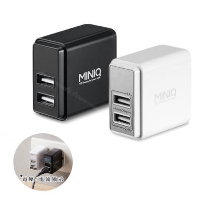 MINIQ 智慧型電流電壓顯示充電器 大電流3.4A雙USB孔旅充頭