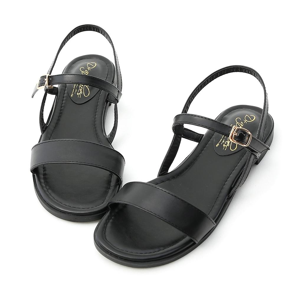 D+AF 自信漫步.一字寬版繫帶平底涼鞋*黑