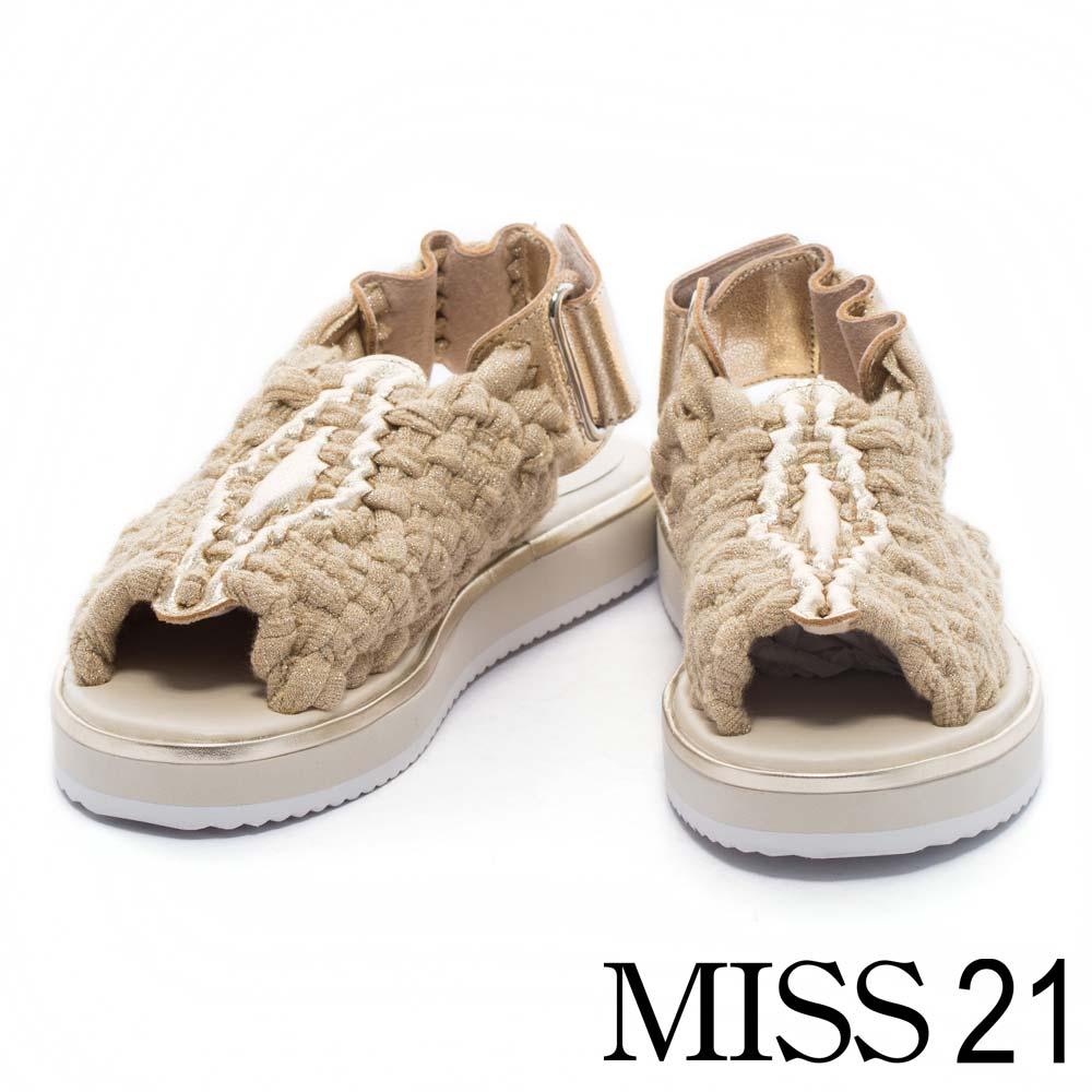 涼鞋 MISS 21 時尚潮流雙色金蔥編織造型厚底涼鞋-金