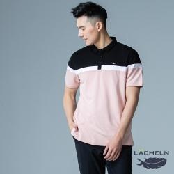 【LACHELN】男款-抗UV高彈都會拼接POLO衫-粉拼黑色(L92M903)