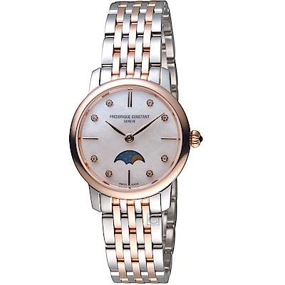 康斯登CONSTANT經典超薄月相女腕錶(FC-206MPWD1S2B)-玫瑰金x銀
