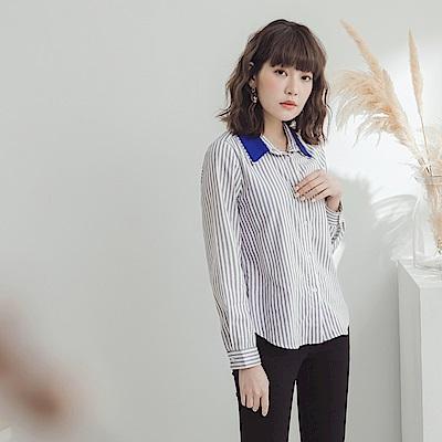 高含棉配色磨毛直條紋襯衫-OB大尺碼