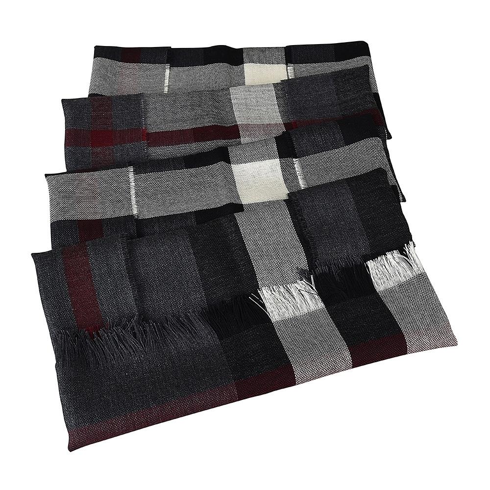 BURBERRY經典格紋羊毛圍巾(炭灰x黑白格紋)