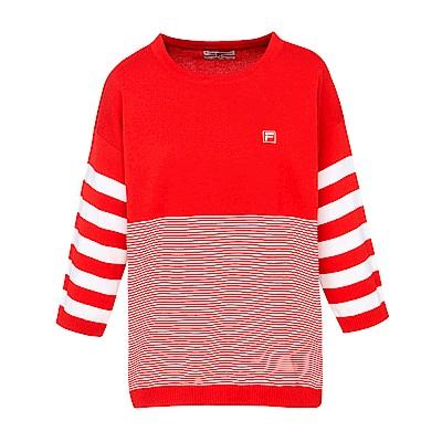 FILA 女款七分袖線衫-桔紅 5SWS-5707-OR