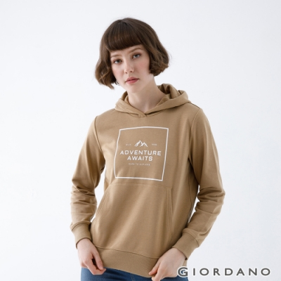 GIORDANO   女裝ADVENTURE連帽T恤 - 71 雲雀褐