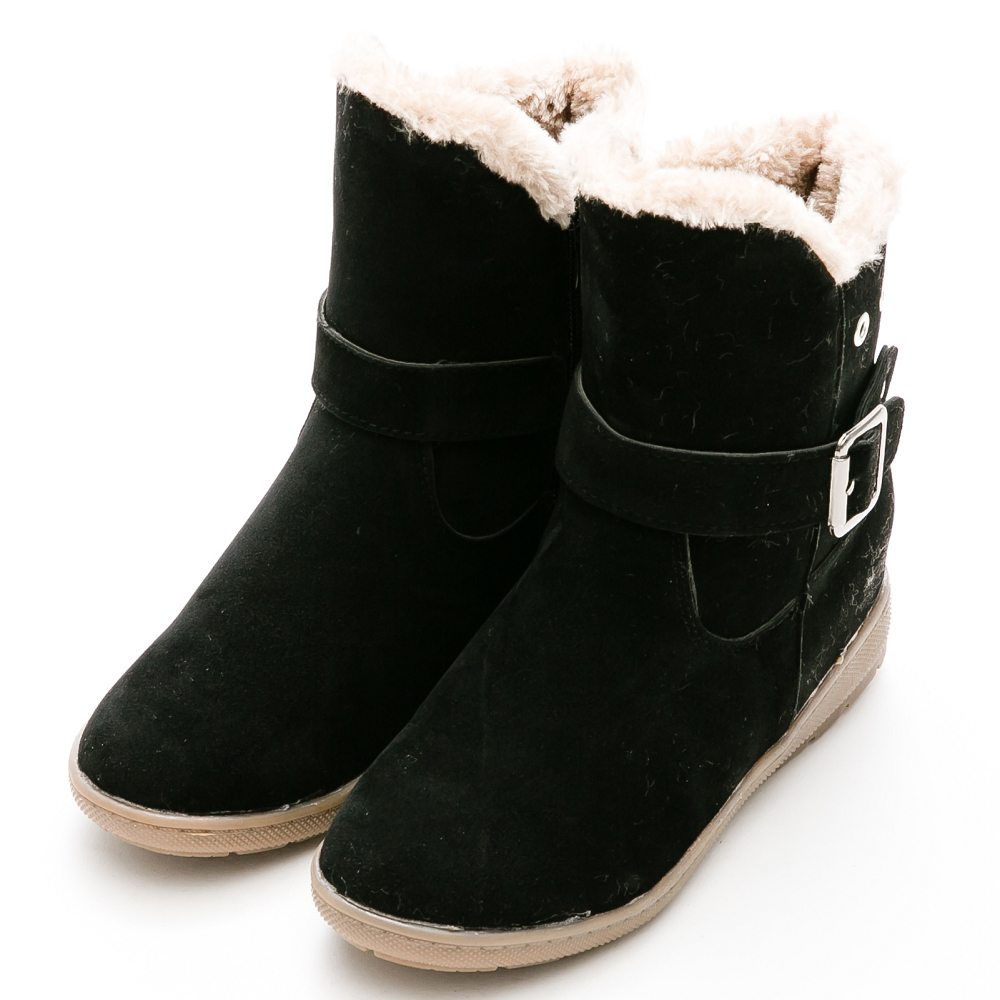 River&Moon韓版Q毛飾扣磨沙皮內增高短靴-黑