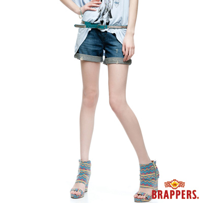 BRAPPERS 女款 Boy Friend Jeans系列-女用反摺短褲-藍