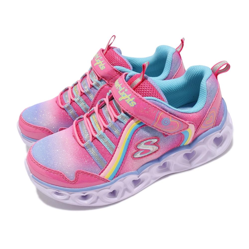 Skechers 休閒鞋 S Light Heart Light 童鞋 愛心閃燈 魔鬼氈 透氣 穩定 中童 粉 紫 302308LPKMT