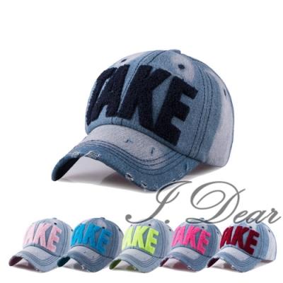 I.Dear-韓國TAKE彩虹螢光字母牛仔布遮陽棒球帽(6色)