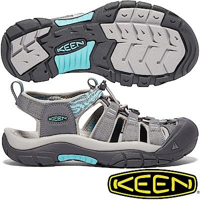 KEEN 1018834灰/湖綠 Newport Hydro 女戶外護趾涼鞋