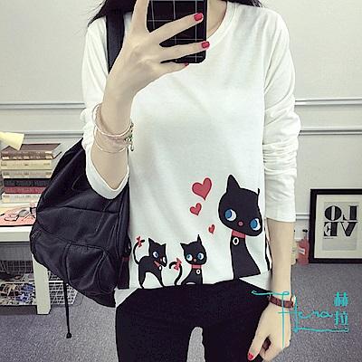 Hera 赫拉 印花貓咪長袖T-shirt /上衣(4色)