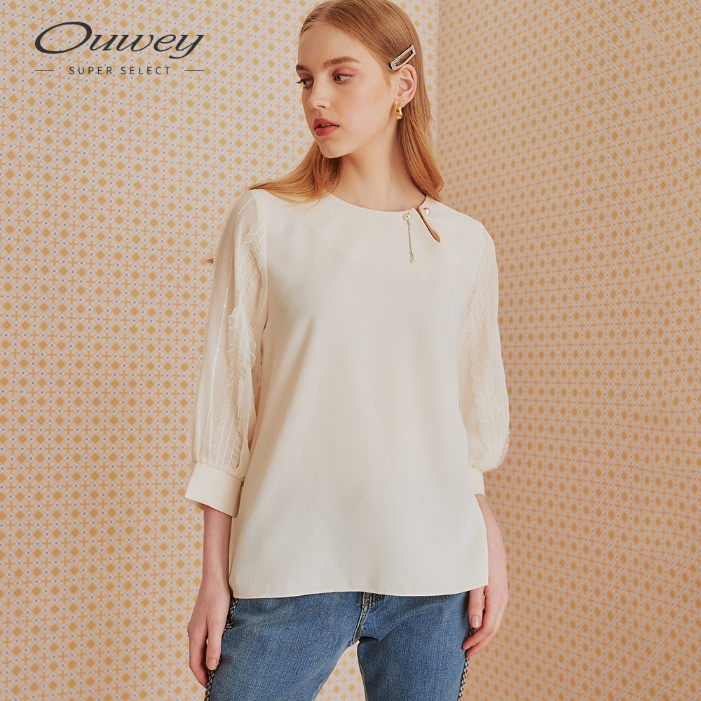 OUWEY歐薇 蕾絲珍珠厚雪紡七分袖上衣(米)