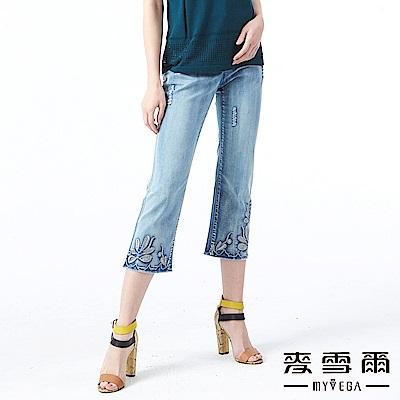 【麥雪爾】水洗仿舊褲腳刺繡七分丹寧褲