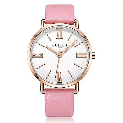 JULIUS聚利時 經典美學簡約時尚皮錶帶腕錶-櫻花粉/40mm