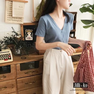 JILLI-KO 韓版顯瘦百搭V領針織上衣- 黑/藍