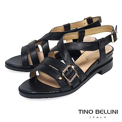Tino Bellini 質感真皮條帶交叉坡跟涼鞋 _ 黑
