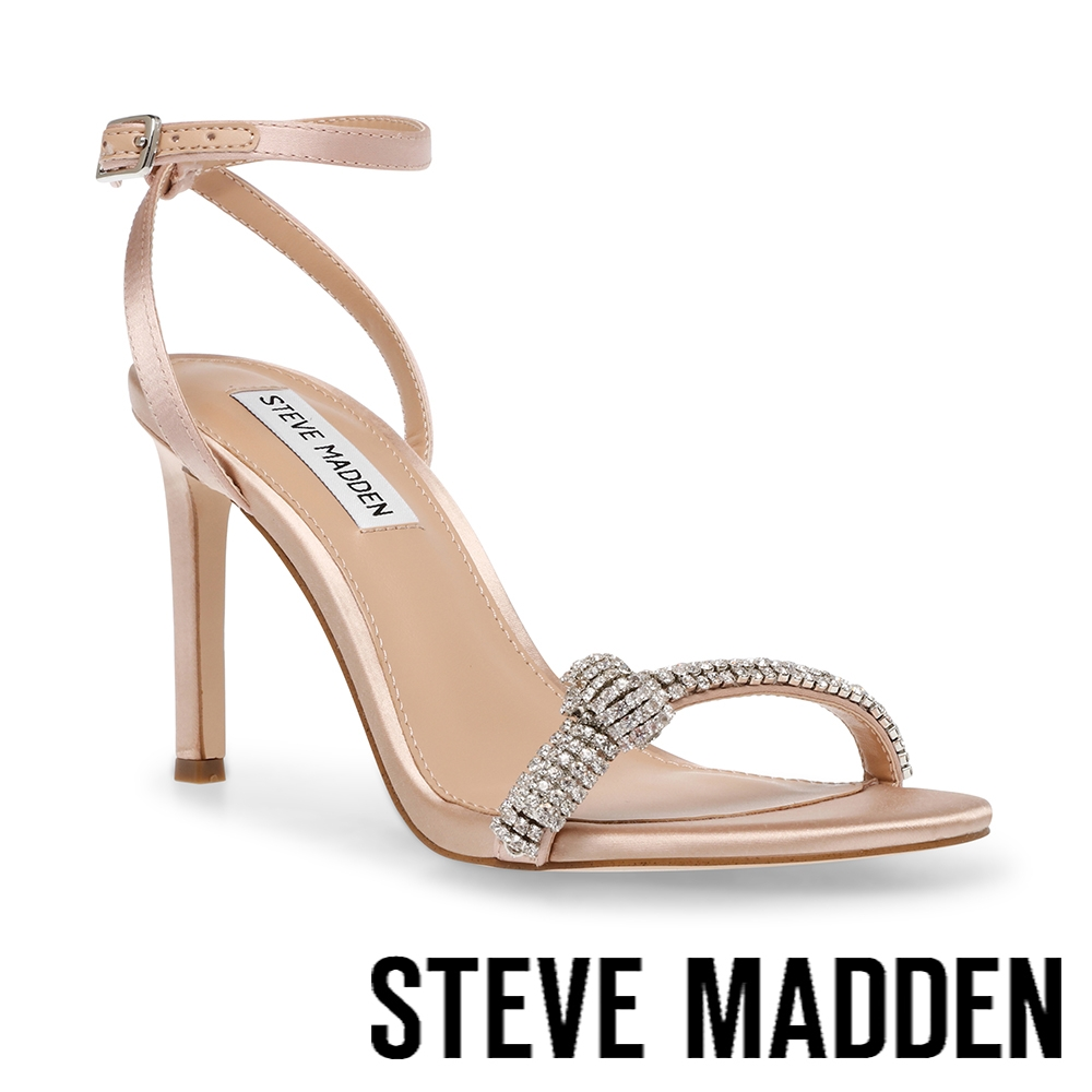 STEVE MADDEN-JULES 水鑽細帶繞踝高跟涼鞋-杏粉色
