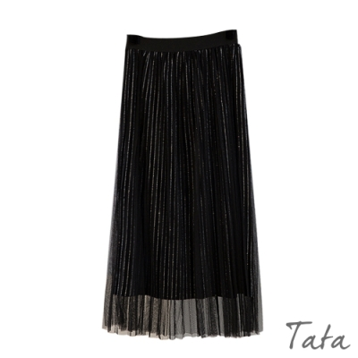 亮粉條紋外接網紗裙 TATA-(M~XL)