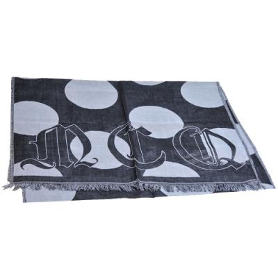 McQ POLKA DOT SCARF 義大利製品牌風格混棉麻造型寬版圍巾(黑色系)