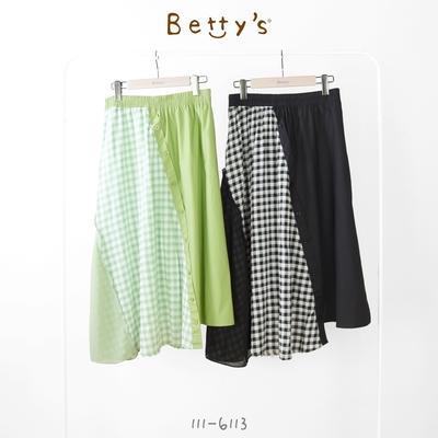 betty's貝蒂思 素面拼接格布雪紡長裙(黑色)