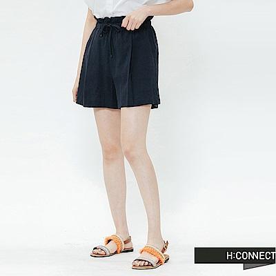 H:CONNECT 韓國品牌 女裝-鬆緊條紋棉麻短褲-藍