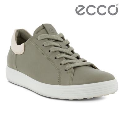 ecco SOFT 7 W 單色撞色設計輕便休閒鞋 女鞋 草綠色/石灰色