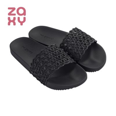 ZAXY 編織紋舒適造型拖鞋 黑