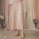 東京著衣-YOCO 優雅女神附綁帶雪紡排釦長裙-S.M.L(共二色)