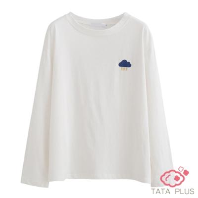 雲雨刺繡落肩上衣 TATA-(XL/2XL)